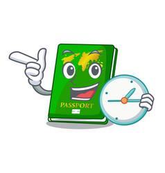 With clock green passport in the cartoon shape vector