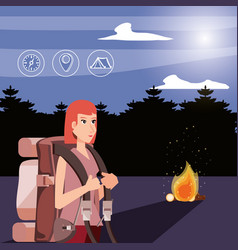 Woman tourist with wood fire and set icons vector