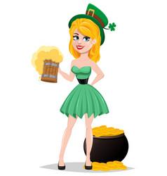 cute lady in leprechaun costume standing near pot vector image