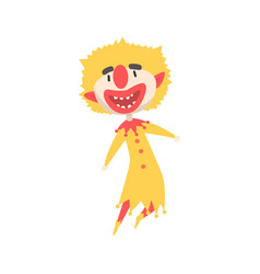 Happy laughing clown jumping colorful cartoon vector