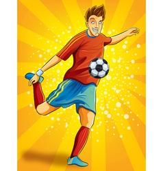 Soccer player shooting a ball vector