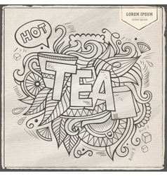 Tea hand lettering and doodles elements vector image vector image