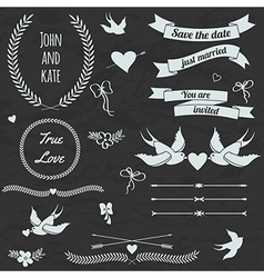 wedding set with birds hearts arrows ribbons vector image