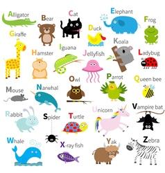 Zoo animal alphabet Cute cartoon character set vector image