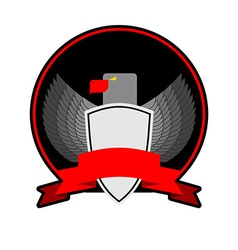 angry Bird with shield in black circle with a Red vector image