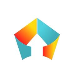 arrow triangle shape ribbon logo vector image vector image