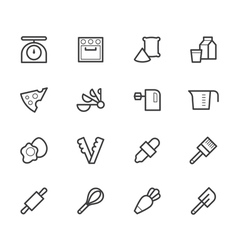bakery tools black icon set on white background vector image vector image