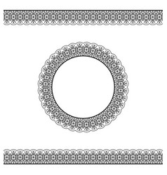 black detailed border and circle frame vector image vector image
