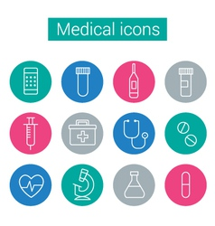 Flat medical icons in circles vector image