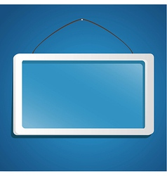 glass frame suspended from a rope isolated on blue vector image