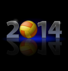 new year 2014 metal numerals with volleyball vector image