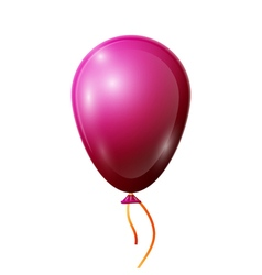 Realistic red balloon with ribbon isolated on vector