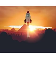 Rocketship on mountain sunset background vector