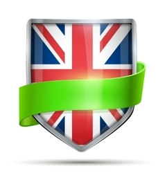 Shield with flag Great Briatain and ribbon vector image vector image