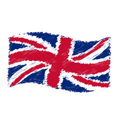 uk flag - union jack - grunge pencil drawing vector image vector image