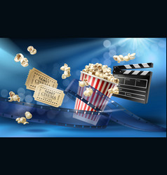 cinema background with 3d realistic objects vector image vector image
