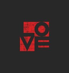 Grange old poster shabby red word love for mockup vector