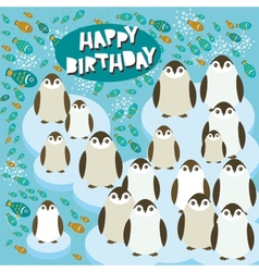 Happy birthday card funny penguins on an ice floe vector image vector image