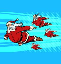 santa team is flying in the sky vector image