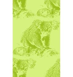 Vintage of a koala bear seamless animal pattern vector