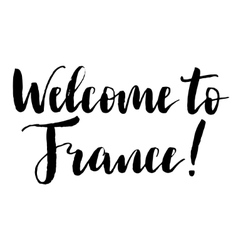 Welcome to France black and white print vector image vector image