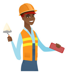 African bricklayer working with spatula and brick vector