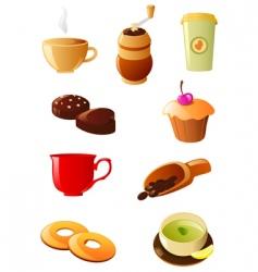 coffee and tea icon set vector image