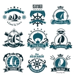 Marine icons for sailing sport sea travel design vector image