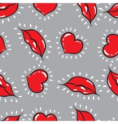 seamless background lips and hearts print vector image