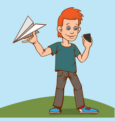 the child was playing with a paper airplane but vector image vector image