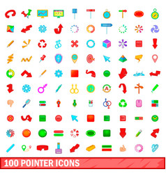 100 pointer icons set cartoon style vector image