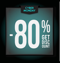 80 percent off holiday discount cyber monday vector image