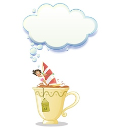 A girl above the big mug of tea vector image
