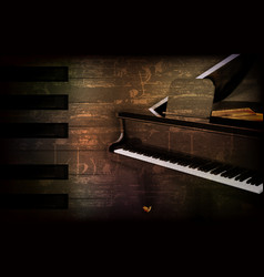 Abstract grunge piano background with grand piano vector
