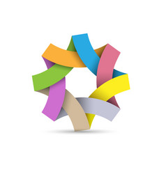 abstract infinite loop logo paper 3d origami vector image