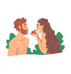 Adam and eve partaking forbidden fruit vector
