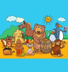 animals and food cartoon group vector image