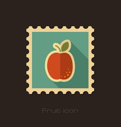 Apricot flat stamp fruit vector