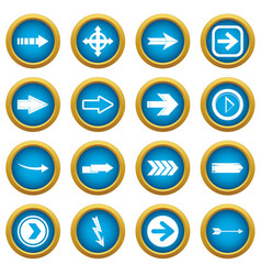 arrow icons blue circle set vector image