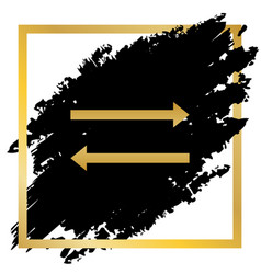arrow simple sign golden icon at black vector image