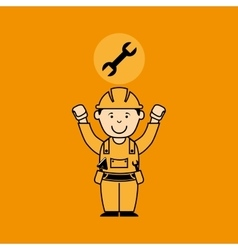 avatar man construction worker with wrench tool vector image