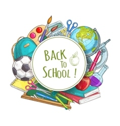 Back to school banner with supplies vector