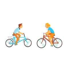 bike riders riding bike and listening to music vector image