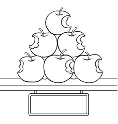 Bitten apples sale coloring book vector