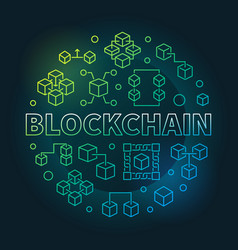 blockchain cryptocurrency round colored vector image