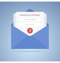 Blue envelope with subscription form in flat style vector