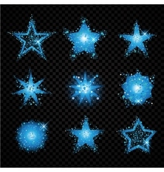 Blue glittering stars sparkling particles on vector