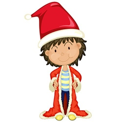 Boy in santa hat and robe vector