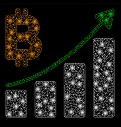 bright mesh network bitcoin growth trend with vector image