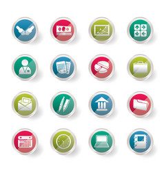 business and office icons over colored background vector image